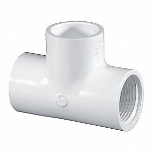 "PVC Tee, Socket x FNPT x Socket, 3/4"" Pipe Size - Pipe Fitting"