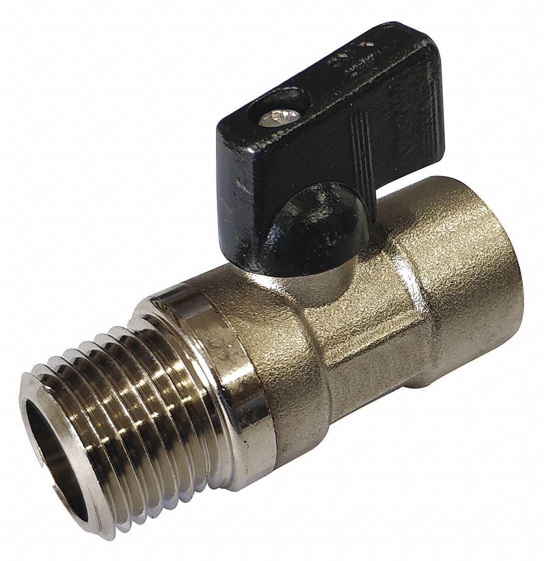 FNPT x MNPT Standard Port 1//2 Brass Ball Valve Mini Inline Item 1PZB5 GRAINGER