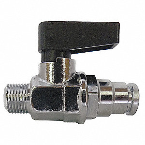 "Brass MNPT x Push Mini Ball Valve, Lever, 3/8"" Pipe Size"