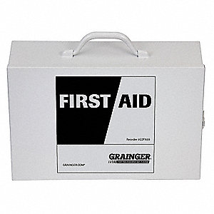 "Empty First Aid Cabinet,  Metal,  Wall Mount/Portable,  10-1/2"" Height,  15"" Width,  4-3/4"" Depth"