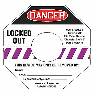 GATE VALVE LOCKOUT LABEL,8X8