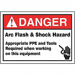 LABEL,3-1/2X5,DGR ARC FLASH SHOCK