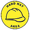 FLOOR SIGN,HARD HAT AREA,17 DIA.