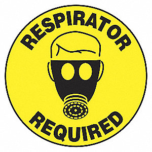 FLOOR SIGN,RESPIRATOR,17 DIA.