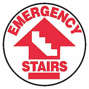 FLOOR SIGN,EMERGENCY,17 DIA.