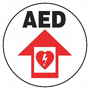 FLOOR SIGN,AED,17 DIA.
