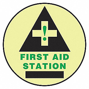 FLOOR SIGN,FIRST AID,17 DIA.