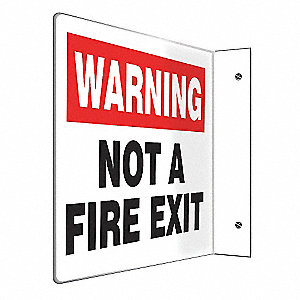 SIGN,WARNING NOT A FIRE ESC,8 X 12