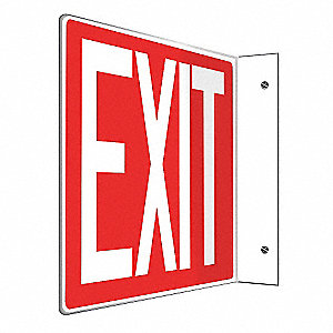 SIGN,EXIT,8X12,WHITE/RED
