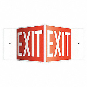 SIGN,EXIT,8X18,WHITE/RED