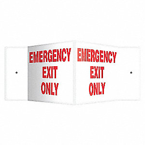 PANNEAU EMERGENCY EXIT ONLY, 8X18
