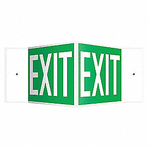 SIGN,EXIT,8X18,WHITE/GREEN