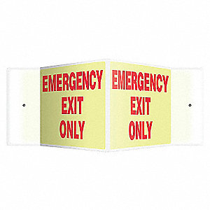 SIGN,EMERGENCY EXIT ONLY,8X18