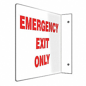 SIGN,EMERGENCY EXIT ONLY,8X12