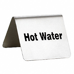 "Hot Water Buffet Sign, 2-1/2"" L x 2"" W x 2"" H, Stainless Steel Tent"