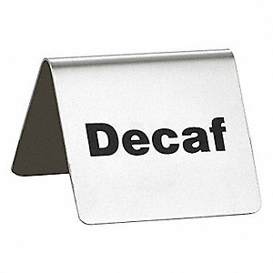 "Decaf Buffet Sign, 2-1/2"" L x 2"" W x 2"" H, Stainless Steel Tent"