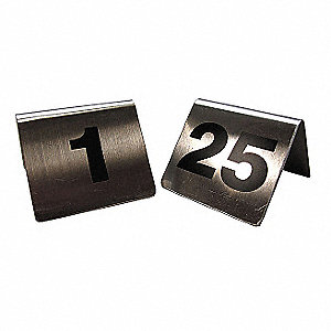 Number Tents, 1-25,SS,Silver,PK25