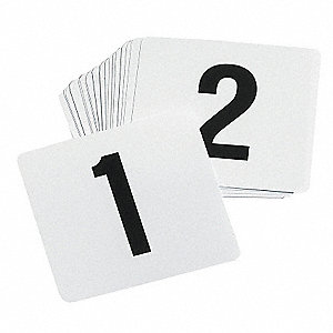 Number Card Set, 1-100, Tent, White Plastic, 100 PK