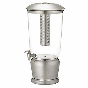 5 gal. Beverage Dispenser, Silver/Clear