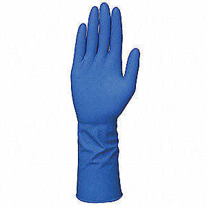 "11-1/2"" Powder Free Unlined Natural Rubber Latex Disposable Gloves, Blue, Size  M, 50PK"
