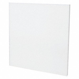 "Sheet Stock, Polypropylene, 24""L x 24""W x  2.000"" Thick, 212 Max. Temp. (F), White"