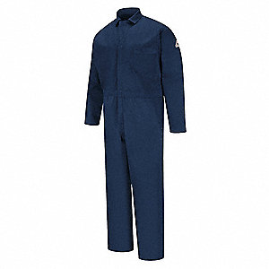 100% Cotton, Flame-Resistant Coverall, Size: L, Color Family: Blues, Closure Type: Zipper