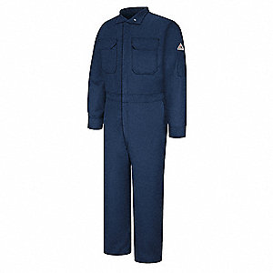 88% Cotton/12% Nylon, Flame-Resistant Coverall, Size: 40, Color Family: Blues, Closure Type: Zipper