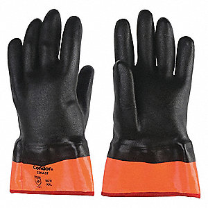 Chemical Resistant Gloves, Medium Weight Thickness, Jersey Lining, Black/Orange, PR 1