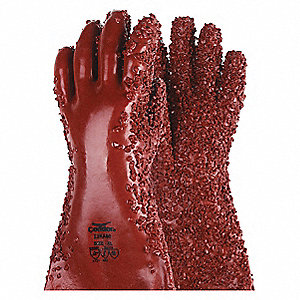 "Chemical Resistant Gloves, Size XL, 14""L, Brick Red ,  1 PR"