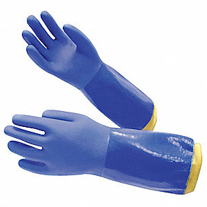 "Chemical Resistant Gloves, Size M, 14""L, Blue ,  1 PR"