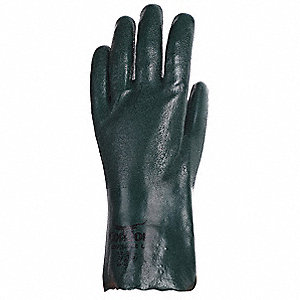 PVC Chemical Resistant Gloves, Olive Green, Size M, 1 PR