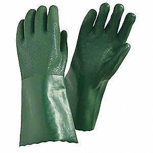 PVC Chemical Resistant Gloves, Jersey Lining, Olive Green, Size M