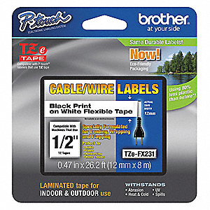 Black/White Laminated Polyester Label Tape Cartridge, Multipurpose Label Type, 26 ft. Length, 0.47""