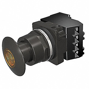 30mm Incandescent 1NO/1NC Illuminated Push Button with Maintained Pull / Maintained Push Action, Amb