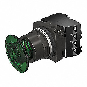 30mm LED 1NO/1NC Illuminated Push Button with Turn to Release Action, Green