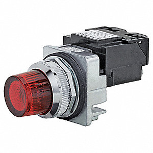 Pilot Light,LED,Full Voltage,Red,30mm