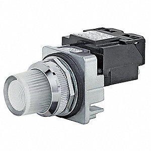 Pilot Light Complete, 30mm, 24VAC/DC Voltage, Lamp Type: Incandescent
