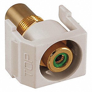 Keystone Jack, Office White, Plastic, Series: iSTATION, Flush Type, Cable Type: RCA (Green)