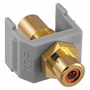 Keystone Jack, Gray, Plastic, Series: iSTATION, Cable Type: RCA (Orange)
