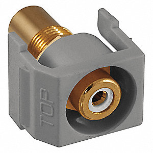 Keystone Jack, Gray, Plastic, Series: iSTATION, Flush Type, Cable Type: RCA (White)