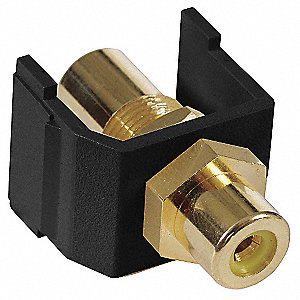 Keystone Jack, Black, Plastic, Series: iSTATION, Cable Type: RCA (Yellow)