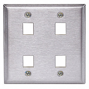 Gray Wall Plate, Stainless Steel, Number of Gangs: 2
