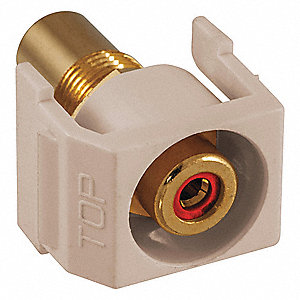 Keystone Jack, Light Almond, Plastic, Series: iSTATION, Flush Type, Cable Type: RCA (Red)