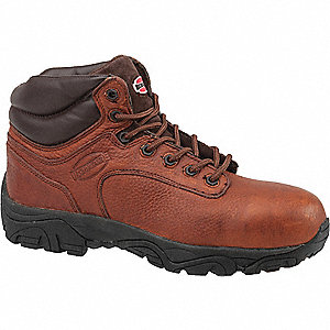 "6""H Men's Work Boots, Composite Toe Type, Leather Upper Material, Brown, Size 10W"
