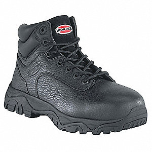 "6""H Men's Work Boots, Composite Toe Type, Leather Upper Material, Black, Size 6-1/2M"