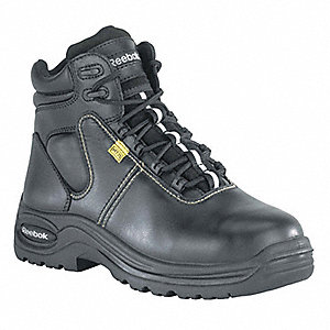 "6""H Men's Work Boots, Composite Toe Type, Leather Upper Material, Black, Size 7-1/2M"