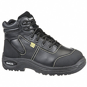 "6""H Men's Work Boots, Composite Toe Type, Leather Upper Material, Black, Size 7-1/2W"