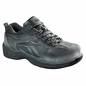 Men's Athletic Shoes, Plain Toe Type, Action Leather Upper Material, Black, Size 7-1/2