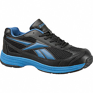 Men's Athletic Style Work Shoes, Steel Toe Type, Leather/Mesh Upper Material, Black/Blue, Size 7-1/2