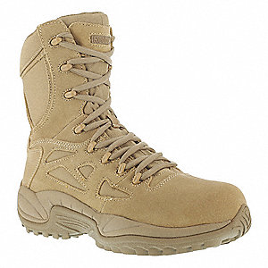 "8""H Men's Military Boots, Composite Toe Type, Leather/Mesh Upper Material, Desert Tan, Size 12M"